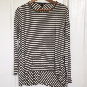 Banana Republic Green and White Striped Tee Med